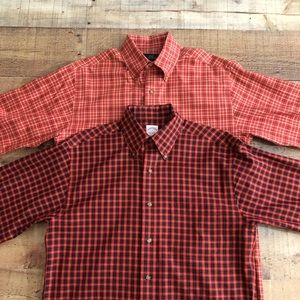 (2) Brooks Brother Button Down Plaid Shirts Small